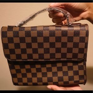 Handbags - •Brown Checkered Pattern Bag